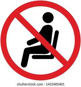 No sitting sign and symbol, Illustration EPS10 vector
