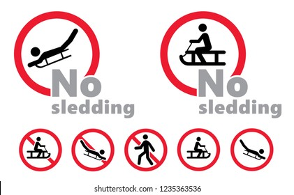 No sledding sleigh sledge sledging sleighing No Ban stop signs icons symbol Vector Beware sled sledge sign do not enter danger warning attention traffic road emergency prohibition forbid entry skiing
