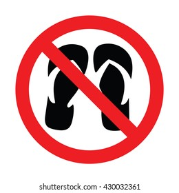 No slippers sign. Vector illustration