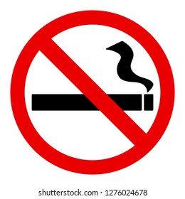 No smoke sign with black cigaratte sign or symbol and red no sign or symbol