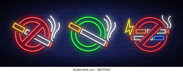 No smoke, no Vape, and a Place for smoking is a set of neon signs. Bright symbol, icon, light warning sign of smoking in an unauthorized place. Stop smoking Vector illustration