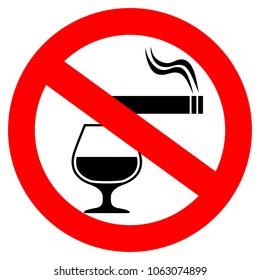 No smoking and alcohol drinking vector sign isolated on white background
