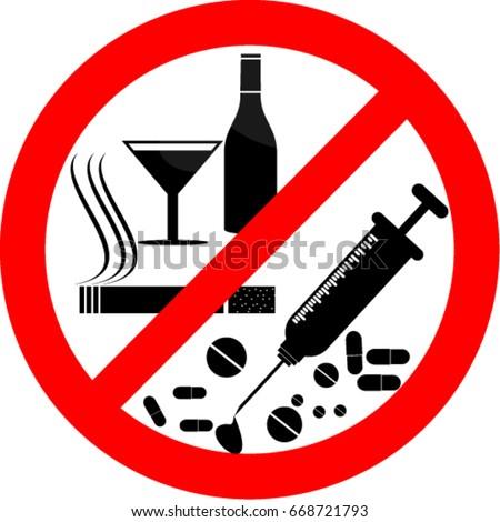 No Smoking Alcohol Drugs Sticker Stock Vector Royalty