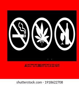 no smoking, no alcohol, no drugs. Vector illustration icon