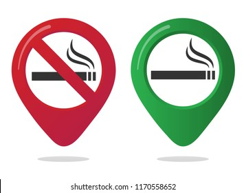 No smoking and smoking area marker map pin icon sign set with flat design gradient styled cigarette in the forbidden red circle. Symbol of the smoking area in the map apps isolated on white background