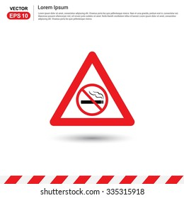 No smoking Area - Red triangle Traffic sign icon