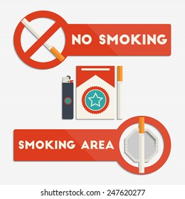 No smoking and smoking area signs with cigarettes and lighter for your design