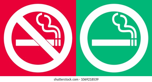 No smoking and smoking area signs. Sign icons isolated on red and green background vector illustration. White cigarette, smoke and prohobition circle flat design style. Designated and denied stickers.