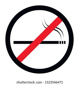 No smoking black sign with red stripe on a white background, vector