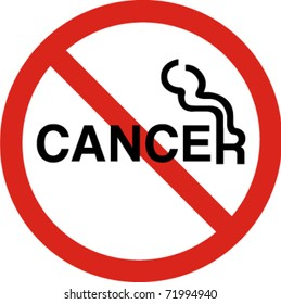 No smoking with cancer sign in vector