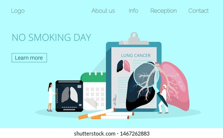 No smoking day, selebreted on the third Thursday of November and World No Tobacco Day in May. Healthcare, medical concept vector, doctors warn smokers about the dangers, consequences of lung cancer.