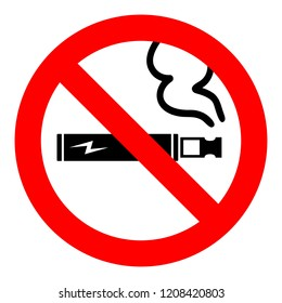 No Smoking electronic cigarettes sign.  No vaping icon. Vector illustration isolated on the white background.