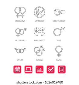 No smoking, family planning and game joystick icons. Male, female and couple linear signs. Gay, lesbian love icons. Report document, Graph chart and Calendar signs. Laptop and Check web icons. Vector