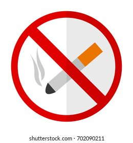 No smoking flat icon, vector sign, colorful pictogram isolated on white. Symbol, logo illustration. Flat style design