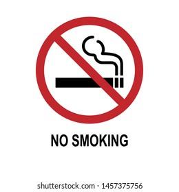 No Smoking Icon - Prohibitation Sign or Forbidden Symbol for Health - Vector.