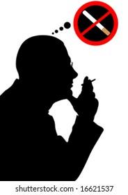 no smoking, man smoking cigarette, vector
