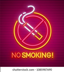 No smoking. Neon sign with prohibition of smoking. Circle with fuming cigarette with smoke. Icon with nighttime neon illumination. EPS10 vector illustration.