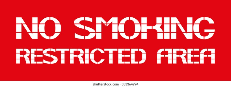 No smoking restricted area White letters on a red background in the box, a warning character.