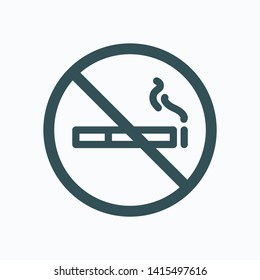 No smoking in room isolated sign, no smoking in hotel linear vector icon