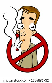 No smoking sign. Cartoon man smokes a cigarette. in isolate on a white background. Vector illustration.