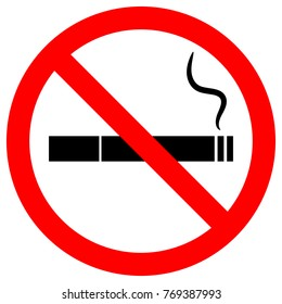 NO SMOKING sign. Cigarette icon with filter and smoke in red crossed out circle. Vector.