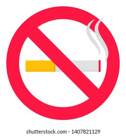 No smoking  sign. Forbidden sign icon isolated on white background vector illustration. Black cigarette and smoke, red prohobition circle isolated on white background.