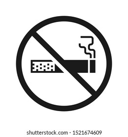 No smoking sign. High quality prohibition sign isolated on white. Monochrome, one color, in one paint, black and white.