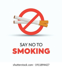 no smoking sign or icon. ban on smoking banner for facebook post. no smoking awareness campaign, say no to smoking banner with cigarette ban sign on plain white background, vector illustration.
