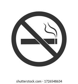 No smoking sign icon. Cigarette symbol. Flat no smoking symbol on a white background. Vector illustration