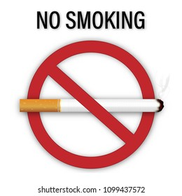 No smoking sign isolated on white background as healthy, Social issues and paper art concept. vector illustration.