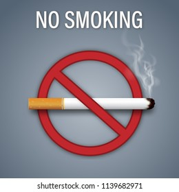 No smoking sign isolated on dark gray background as healthy, Social issues and paper art concept. vector illustration.