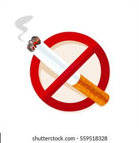 No Smoking Sign isolated on white. Smoking ban.