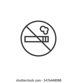 No Smoking sign line icon. linear style sign for mobile concept and web design. Stop Cigarette outline vector icon. Symbol, logo illustration. Vector graphics