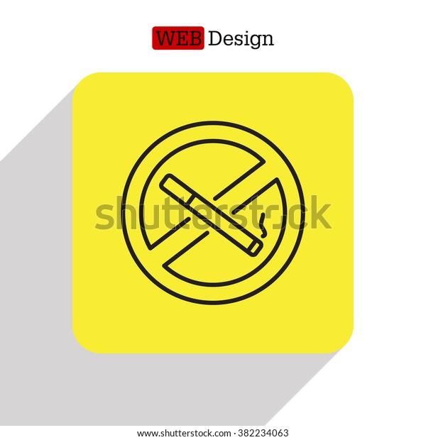 No smoking sign line icon.  vector
