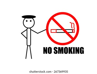 No smoking sign with line man on white background
