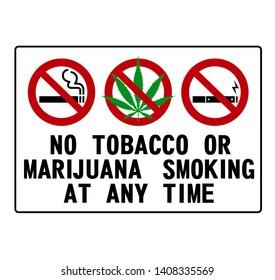 No smoking sign on white background, No smoking marijuana symbol