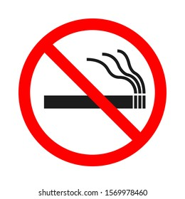 No Smoking sign on white background. Vector illustration. Red prohibition sign