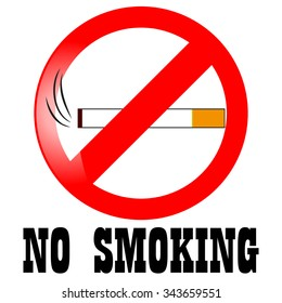 No smoking sign on white background, vector