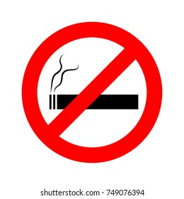 No smoking sign on white background. Vector illustration. No smoking icon in flat design.