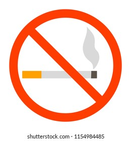 No smoking sign. Red forbidden sign with cigarette behind it. Smoking not allowed emblem. Isolated flat vector illustration