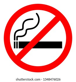 No smoking sign. Red prohibition with cigarette and smoke on white background. Vector illustration.
