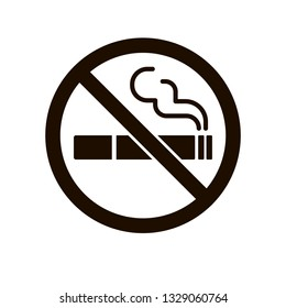 No smoking sign. Smoke Vector icon, Stop cigarette concept, monochrome illustration isolated on white.