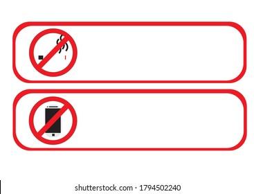 No smoking sign stickers and no handphone stickers