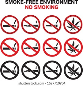 No smoking sign vector for cigarette and electronic cigarette vaporizer and marijuana with layers easy to edit