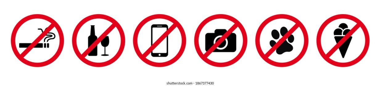 No Smoking signs icon, no photography icon, no dogs vector set