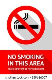 No smoking sticker, flat vector illustration