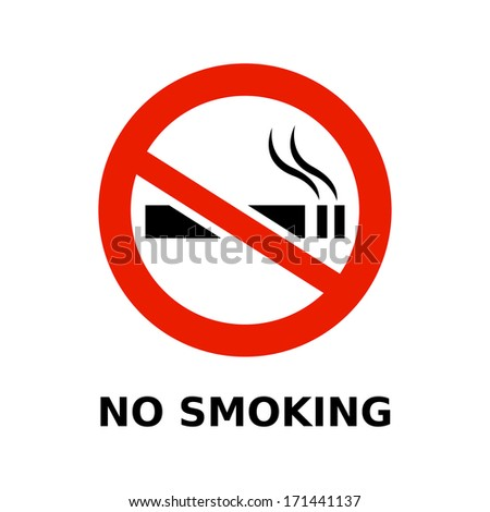 No Smoking Symbol Text On White Stock Vector Royalty Free