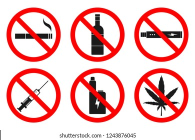NO SMOKING, NO VAPING, NO DRUGS, NO ALCOHOL sign. Vector.