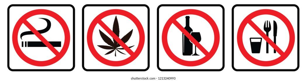 No Smoking-No marijuana-No alcohol-No food or Drink- Prohibition signs collection