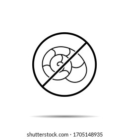 No snails iconicon. Simple thin line, outline vector of biology ban, prohibition, embargo, interdict, forbiddance icons for ui and ux, website or mobile application
